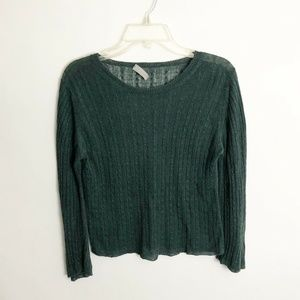 Margaret Howell Green Cable Knit Linen Sweater